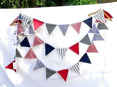 The Little White Company Fabric Bunting - Blue/Red/White - Indoors or Outdoors