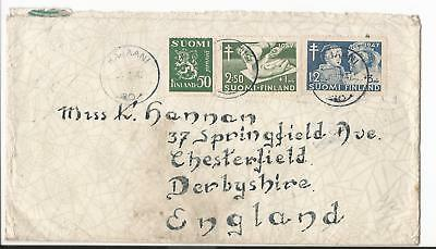 Finland 1947  Cover To England + Cinderella Stamp On The Back