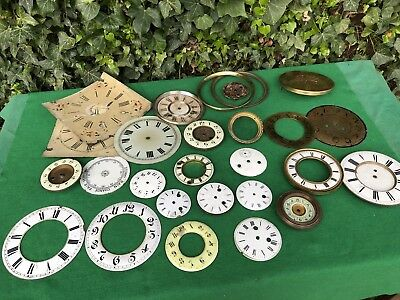 Antique Job Lot Of Clock Faces Various Sizes, Mostly Porcelain Dial