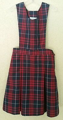DENNIS~Girls~School Uniform~HAMILTON PLAID~Red~Navy~Jumper~DRESS~Size G7~#18636