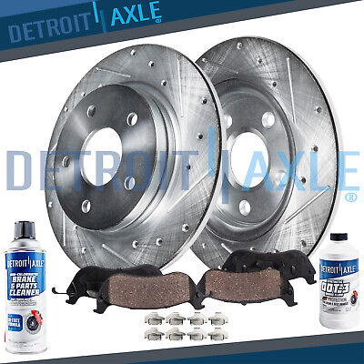 Rear Disc DRILLED & SLOTTED Brake Rotors and Ceramic Pads 2008 2009 Sable Taurus