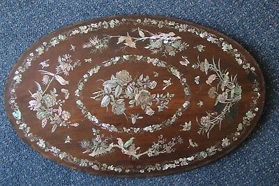 Large 19th Century Chinese Wood Table Panel inlaid with Mother of Pearl