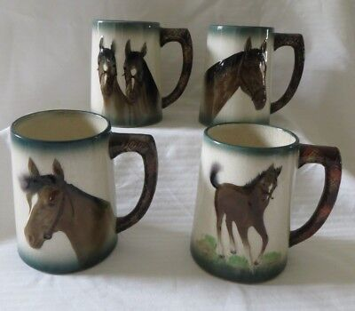 Vintage Ceramic Horse Mugs Cups By Hal-Seyfifth Japan Set Of 4
