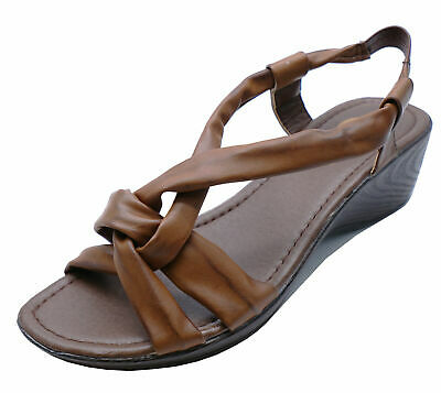 Ladies Brown Open-Toe T-Bar Wedge Comfy Summer Strappy Sandals Shoes Sizes 3-8
