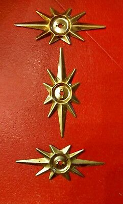 Lot of 3 brass Mid Century ATOMIC STAR Drawer Pull BACK PLATE true vintage NOS