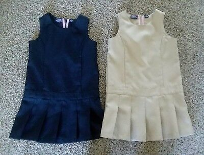 Izod girls school uniform jumper dress khaki navy set (size 5)