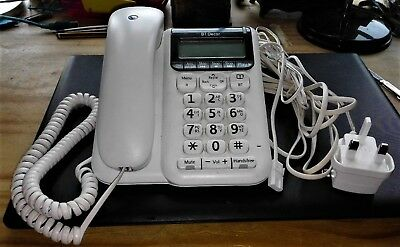 B T Decor 2500 white corded telephone and answering machine