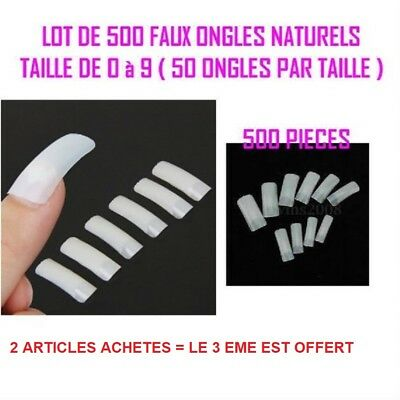 500 Capsules Pro Tips Naturel Faux Ongle Gel Uv Vernis French Manucure Ong015