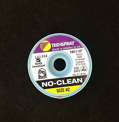 No-Clean Solder Wick - #1 - 5' Braid - Techspray 1821-5F - MADE IN THE USA!