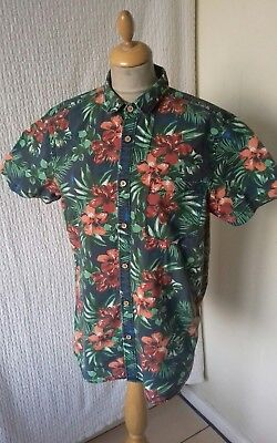 ac8ddb06 1940s 1950s style Rockabilly Hawaiian shirt floral print size M chest 40