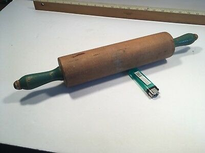 vtg 1920's - 40's Kitchen WOODEN ROLLING PIN WITH GREEN HANDLES