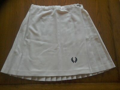 Vintage Fred Perry Tennis Skirt. White Pleated Tennis Skirt. Wrap Over