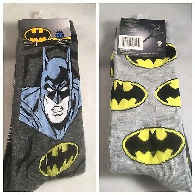 8928d342e88d NEW DC COMICS Batman 2pk Mens Crew Socks Shoe Size 6-12 Poly/Spandex ...