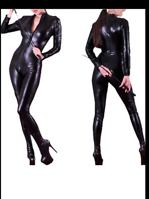 Sexy Stretchy Fetish Black Faux PVC Catsuit with Zip Front fits 10 / 12 BNWT