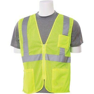 ERB Class 2 Reflective Mesh Safety Vest with Pockets, Yellow/Lime
