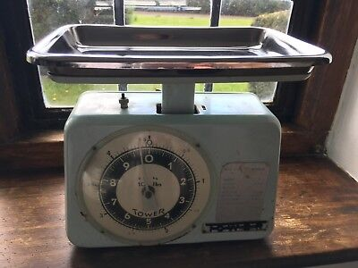 Vintage Pale Blue Tower Weighing Scales