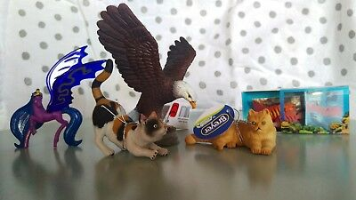 Breyer CollectA lot Eagle, Calico and Tabby Cats, Fish, Mini Wind Dancer