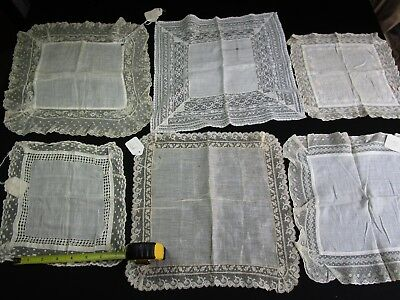 Lot of 6 Antique Lace Wedding Hankies, French Valenciennes Lace, Tags