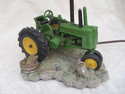 John Deere Tractor Lamp 1999 Farm Table Green Vintage