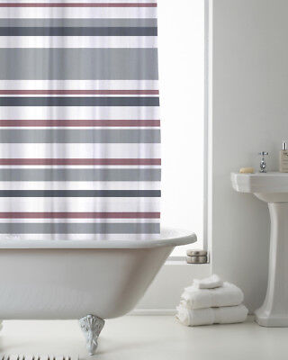 Country Club Shower Curtain 180x180 Stripe Pink and Grey Modern Colour Block