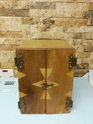 Vintage wooden box with drawers and side compartment