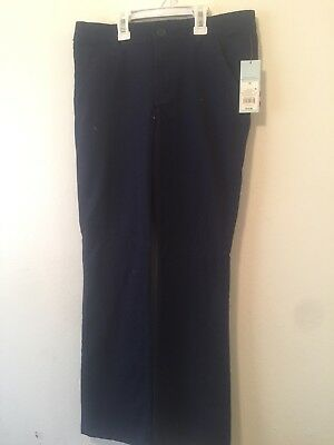 Girls School Uniform Pants Navy Blue - Bootcut Stretch adjust Elastic  - Sz 16