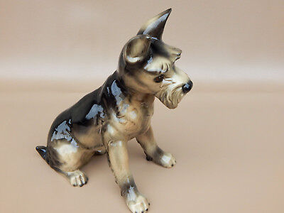 Very Large Goebel W German Sitting Schnauzer Dog -Multi Colored in Black & Brown