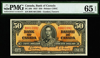 Canada 50 Dollars 1937 Gordon-Towers BC-26b GEM UNC PMG 65 EPQ