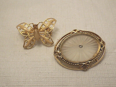 Vintage/Mod Lot of 2 Lovely Brooches - Oval Shape & Butterfly W/Rhinestone