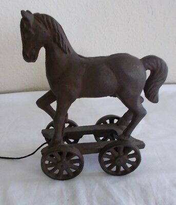 Vintage Cast Iron Horse Pull Toy