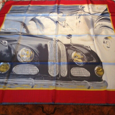 BMW old timer car silk scarf, vintage but new, 100% silk, made in  Italy