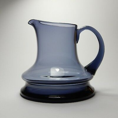 Blue Hooped Glass Water Jug Mid Century Scandinavian Vintage