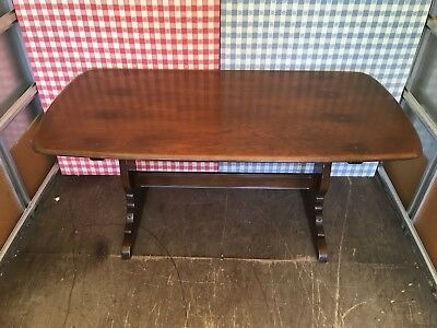 Vintage Retro Mid Century Ercol Refectory Style Solid Elm Kitchen Dining Table