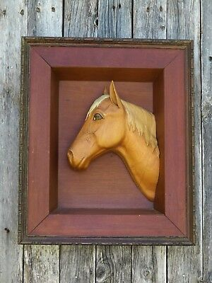 "Vintage Hand Carved Wooden Horse Head Framed Wood 20"" x 16"""