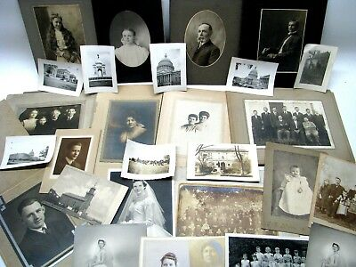 Lot of 29 Pre-1940  Vintage Black & White/Sepia Photos Victorian Cabinet Cards