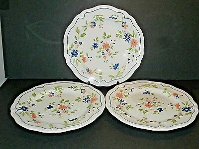 Sears Country French Ironstone Dinner Plates Peach Blue Flowers Green--Lot of 3! & SEARS IRONSTONE COUNTRY FRENCH 7.75\
