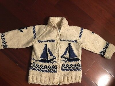VTG child sweater cowichan style SAILBOATS NAUTICAL TODDLER  handmade zip front