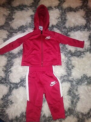 Used NIKE CHILDREN BABY TRACKSUIT SPORT SUIT red/maroon 3-6 months