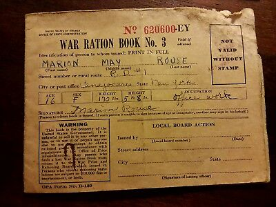 Vintage  1940's WW2 War Ration Book No. 3, Serial #620600-EY w Stamps