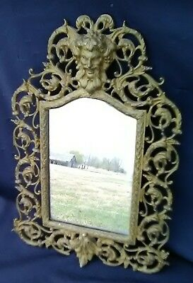 Gorgeous Vintage Cast Brass Greek God Zeus Wall Hanging Mirror