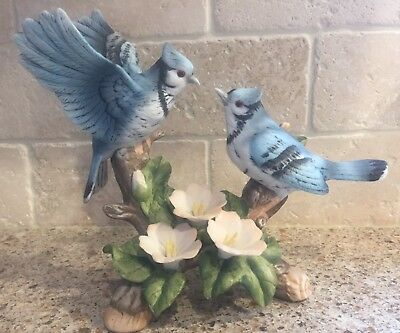 Pair of Blue Jay Birds on Branch with Flowers Figurine Bluejays Vintage EUC 1988