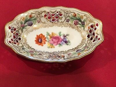 """Schumann Arzberg Germany Pierced Reticulated 5"""" oval Plate Mint!!!"""