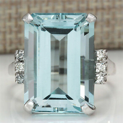 1PC Women Blue Aquamarine Rings Vintage 925 Silver Handmade Jewelry Accessories