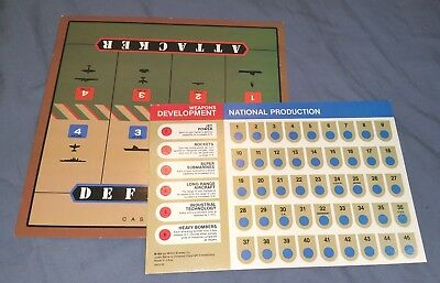 AXIS AND ALLIES second edition: battle board and production card - 1987