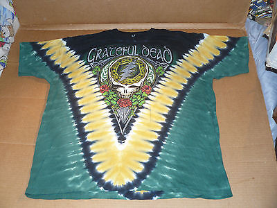 Vintage GRATEFUL DEAD tour shirt XXL green skull + shamrock tie dye Ireland