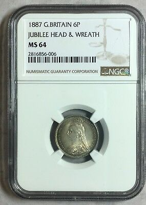 Great Britain 1887 NGC MS64 Silver 6 Pence:  Beautiful!