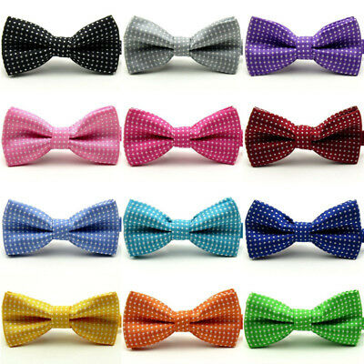 Solid Cute Dot Print Bow Tie Kids Boys Ties Bowtie Necktie Wedding Adjustable