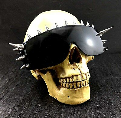 Cool Rock Punk Spike Sunglasses Metal Studded Moto Biker Glasses Black