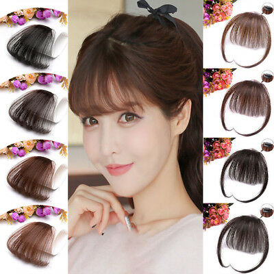 100% Real Human Hair Thin Neat Air Bangs Clip In Korean Fringe Front Hairpiece