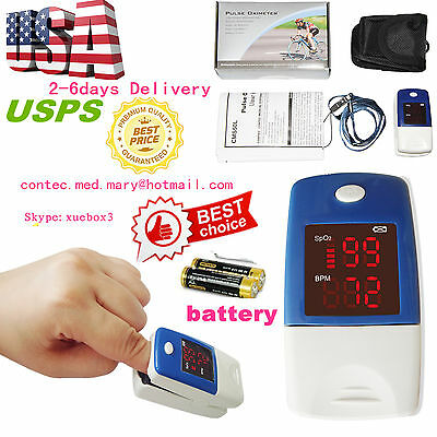 Fingertip Pulse Oximeter Spo2 Monitor Blood Oxygen LED Display +Case+Battery,HOT